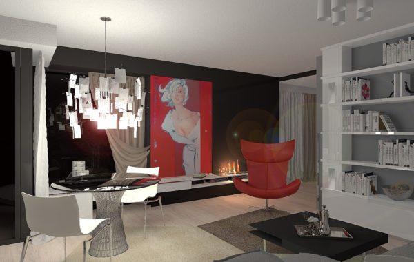 obyvací pokoj s kuchyní